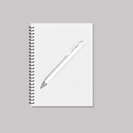 Realistic blank spiral notepad and pencil mock up. Vector .