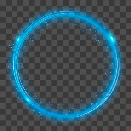 Round glowing lights and blue sparkles on transparent background.