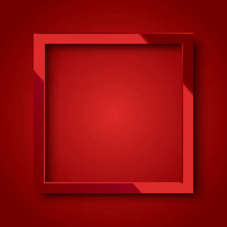 Realistic shiny red square frame on red background Illustration