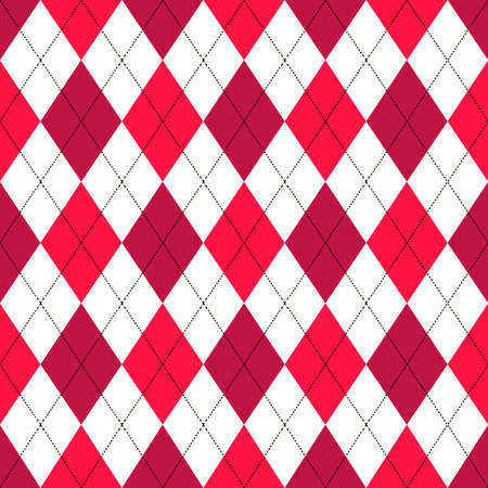 Seamless argyle pattern in shades of red with white stitch. Vector illustration.
