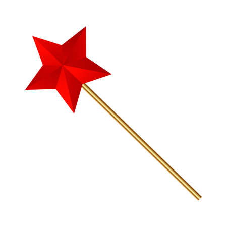 Magic wand. Red star and gold wand . vector.