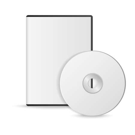 Blank white compact disk with cover on wooden table and concrete wall background. Mock up. CD disk. Vector illustration. Illustration
