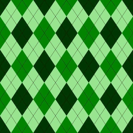 Seamless argyle pattern in shades of green with white stitch. Vector illustration.