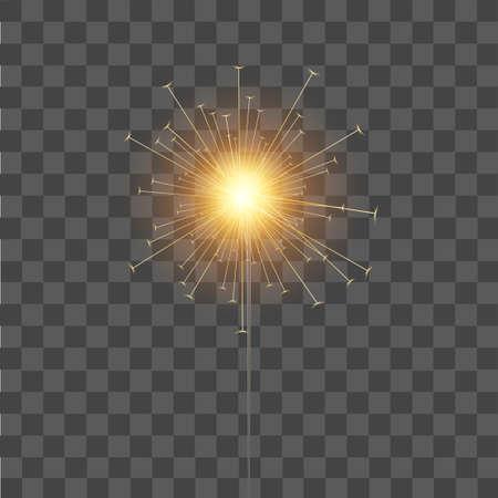 Burning sparkler on transparent  background for your design. Vector.