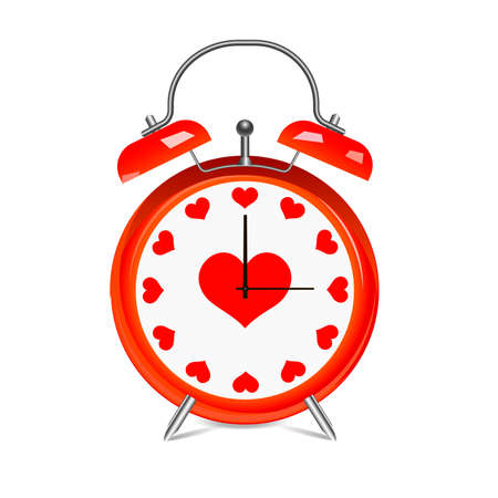 Realistic red alarm watch with hearts. Illustration