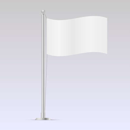 Mock up white flag template illustration.