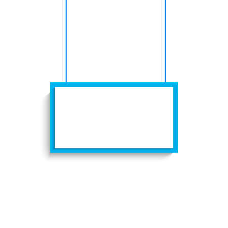 Vector blank white and blue title banner hanging design.