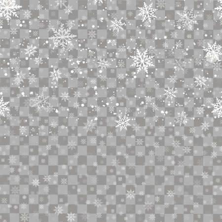 Christmas transparent background with falling snowflakes. Vector.
