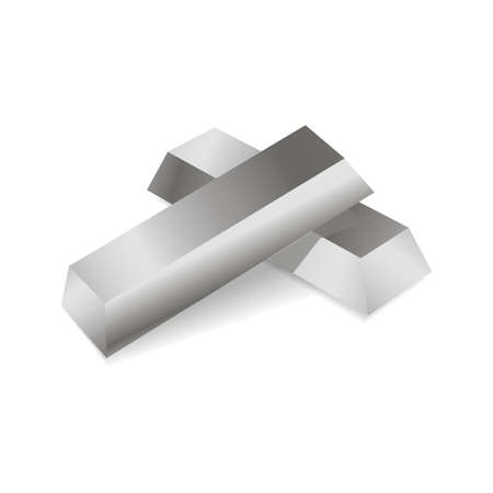 Realistic silver ingots. Vector illustration. Illustration