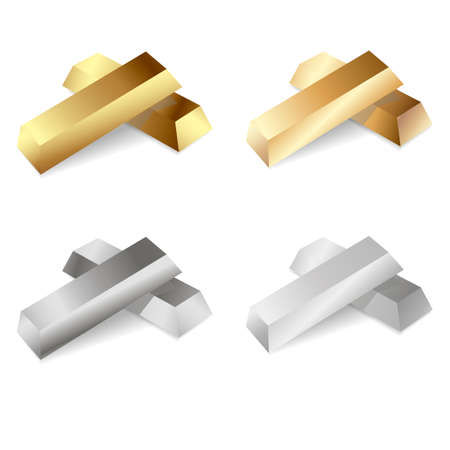 Set of gold and silver bars. Vector illustration.