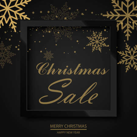 Sale poster with falling snowflakes glossy black  frame on black background. Vector
