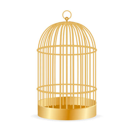 Realistic golden birdcage isolated on white. Vector illustration.
