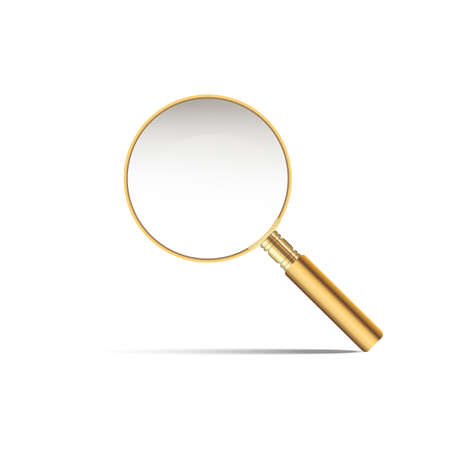 Realistic gold magnifier with shadow on white background.