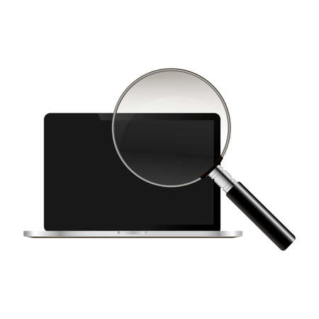 Realistic notebook and magnify vector illustration. Search in notebook.