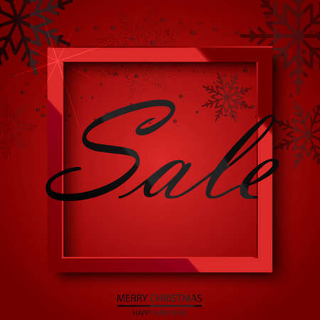 Sale poster with falling snowflakes glossy black  frame on red background. Vector