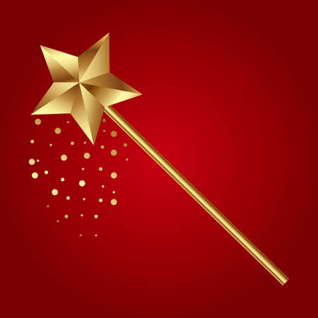 A Vector illustration of golden magic wand on red background. Illustration