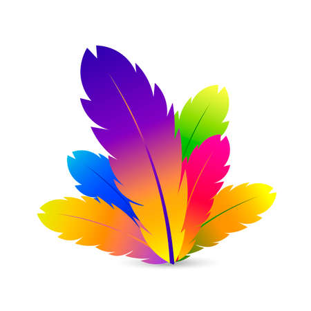 Feather with different color. Vector illustration.