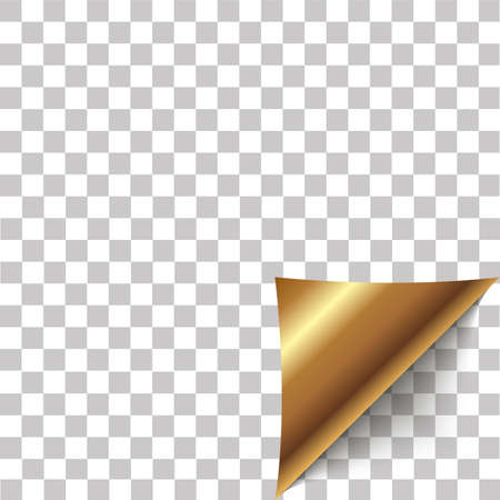 Paper corner peel. Blank sheet of folded sticky paper note. Vector illustration of sticker peel element for advertising message on transparent background.