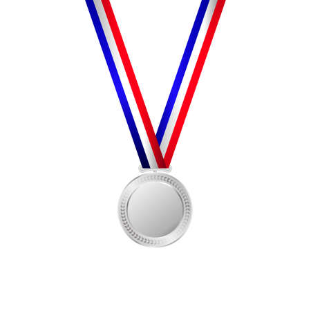 A Vector illustration of silver medal with ribbon.