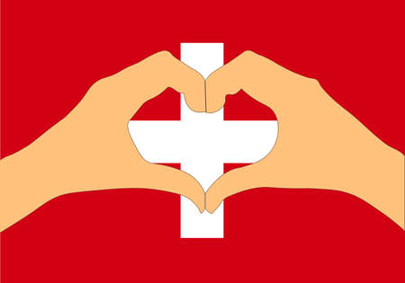 A Vector illustration of Switzerland flag and hands making a heart shape.