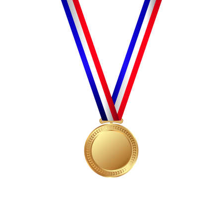 A Vector illustration of gold medal with ribbon.