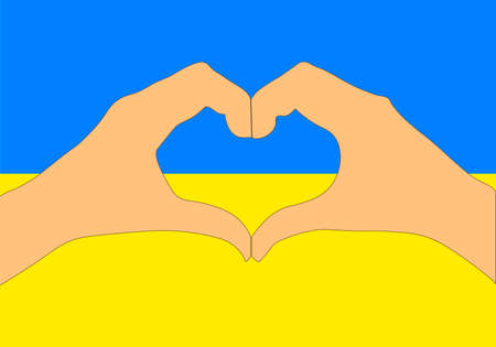 A Vector illustration of Ukraine flag and hands making a heart shape.