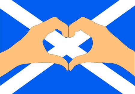 A Vector illustration of Scotland flag and hands making a heart shape Иллюстрация