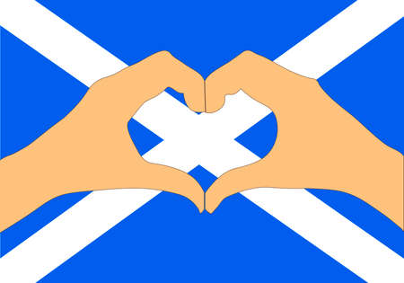 A Vector illustration of Scotland flag and hands making a heart shape Vettoriali