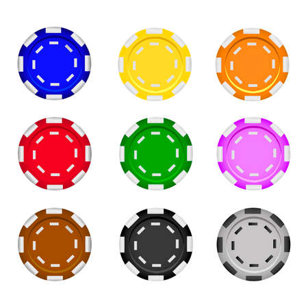 Set of casino chips on a white background. Poker chips. Vector realistic illustration.