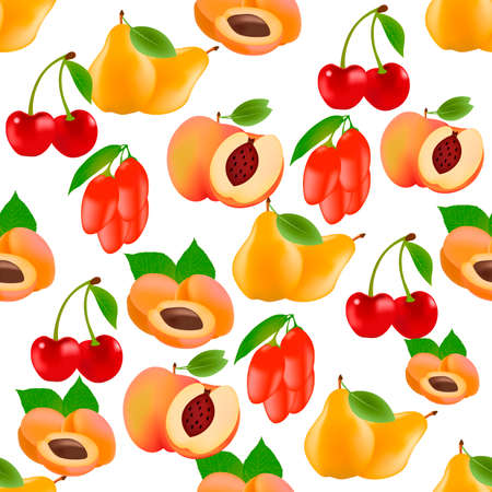Seamless fruit pattern. Pear, peach, goji berry, cherry, apricot. Illustration