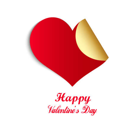 Heart shaped sticky design on shiny white background for Happy Valentines Day Celebration
