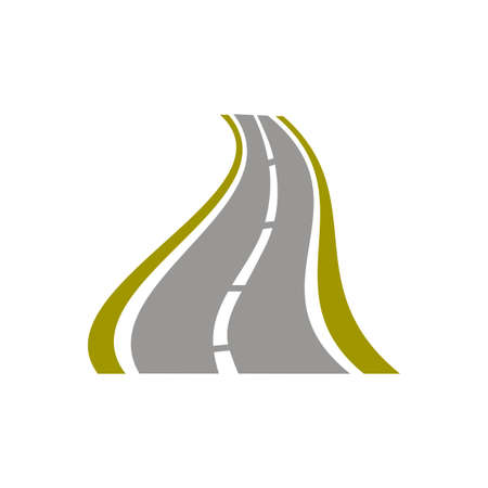 Winding paved road icon on white background. For travel or transportation theme.