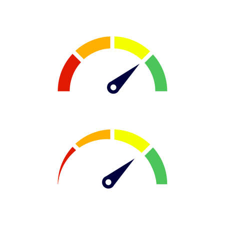Speedometer icon with arrow. Colorful Infographic gauge element. Vector illustration.