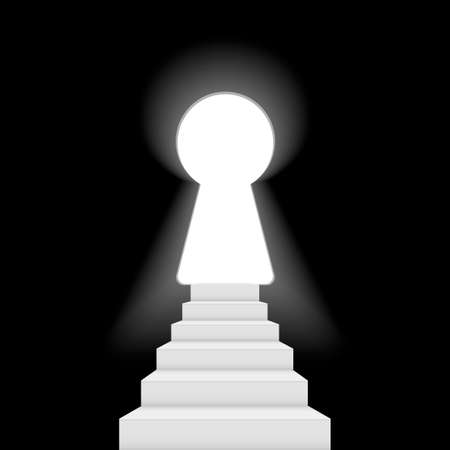 Glow Keyhole on dark wall with light and stairs. Vector.