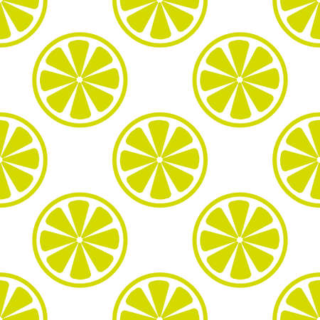 Vector bright lime slices seamless background. Green organic flat illustration.