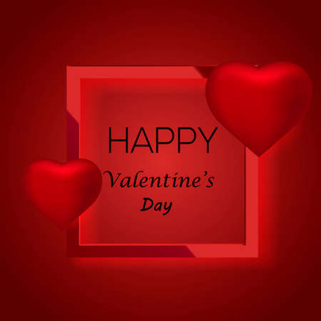 Valentine's day greeting card with square red frame and hearts. Vector.