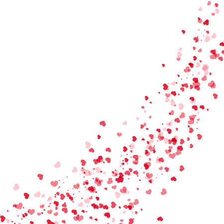 Valentine's greeting card with falling red hearts on white background. Vector. Ilustração