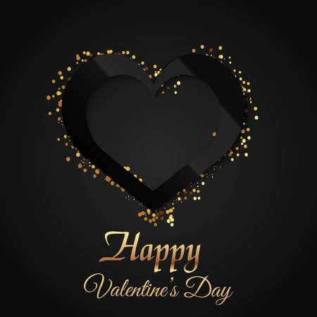 Valentines day greeting card with glowing black heart on black background. Vector Illustration