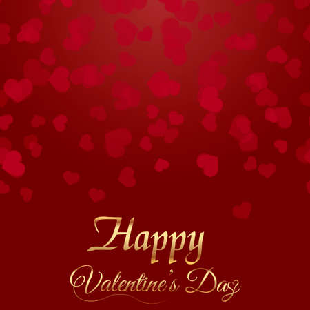 Valentine's greeting card with falling red hearts and gold text vector.