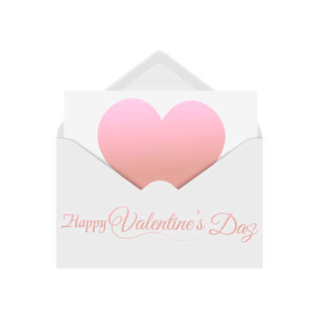 Romantic white opened envelope with sheet and red heart.