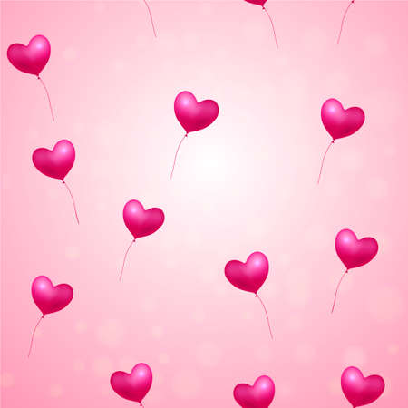 Seamless pattern with flying balloon hearts on pink background. Vector. Illustration