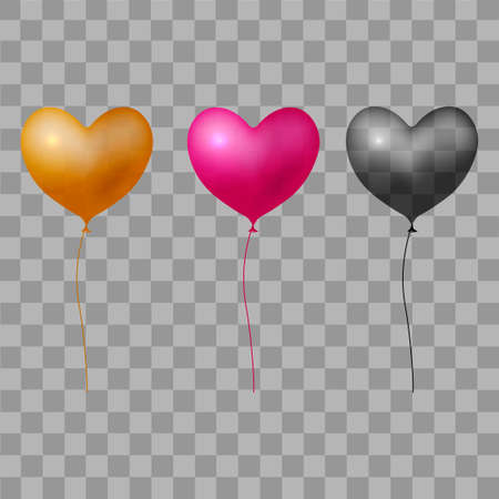 Red black and gold balloon hearts on transparent background. Vector.