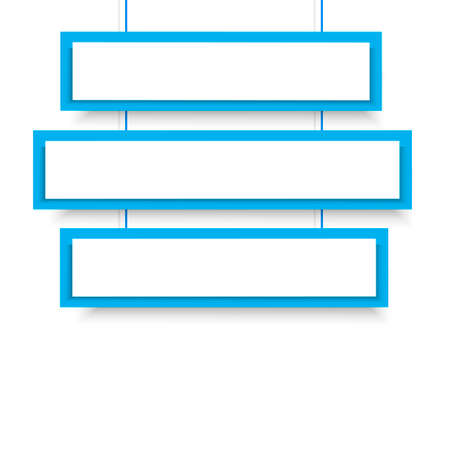 Vector blank blue 3 Line wonky hanging banners. Vector illustration. Illustration