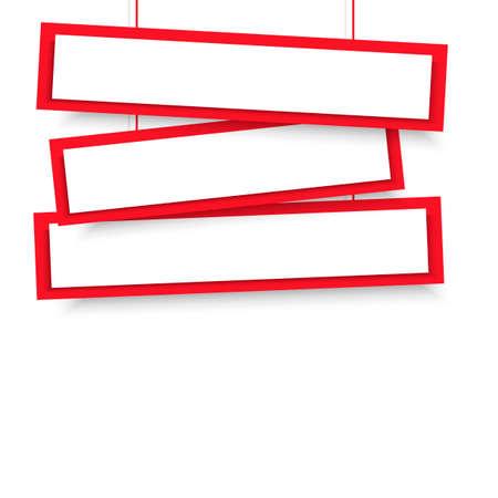 Vector blank red 3 Line wonky hanging banners. Vector illustration. Reklamní fotografie - 94549827