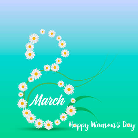 8 March. Happy Womens day greeting card with chamomile and handwritten lettering text. Vector. Illustration
