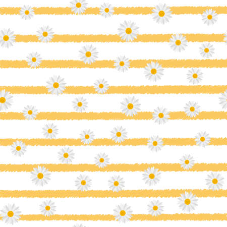 Seamless pattern with chamomile on horizontal lines. Vector.