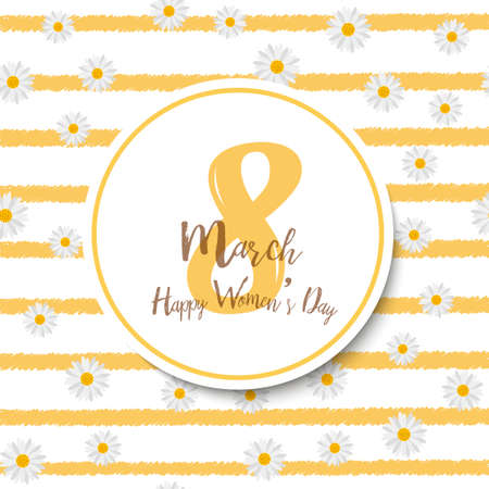 8 March. Womens day greeting card with chamomile and  handwritten lettering. Vector.