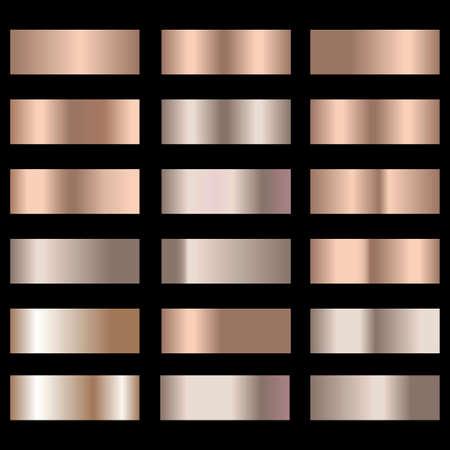 Set of bronze foil texture gradation background. Vector.