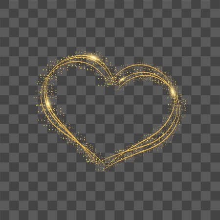 Heart with gold dots and confetti on transparent background. Vector.