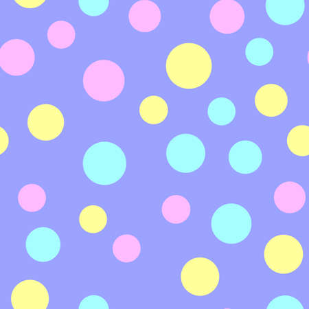 Seamless pattern with colorful dots on blue. Texture pattern. Vector.